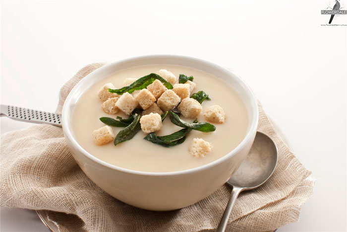 Cauliflower Soup with Sage and Thyme Croutons