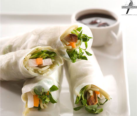 Rice Paper Rolls With Green Tea Noodles And Snow Pea Shoots