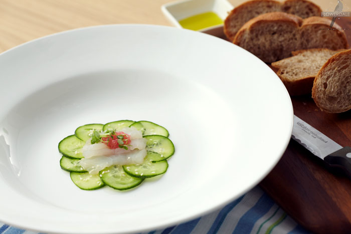 Murray Cod Sashimi and Cucumber Salad with Citrus Caviar and Lemon Balm