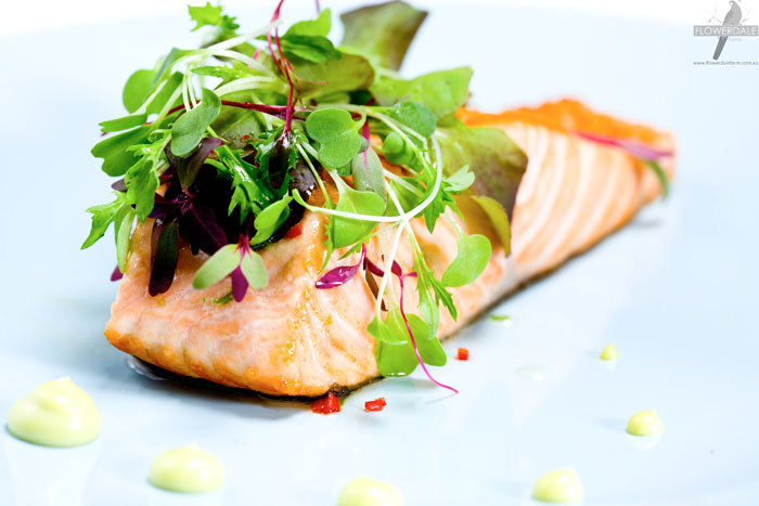 Seared Salmon with Asian-style Microgreens and Wasabi Mayo