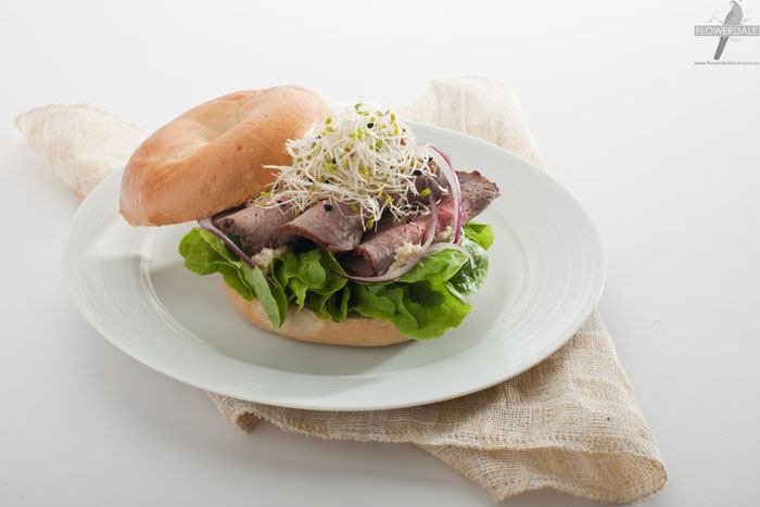 Rare Roast Beef and Garlic Alfalfa Bagel