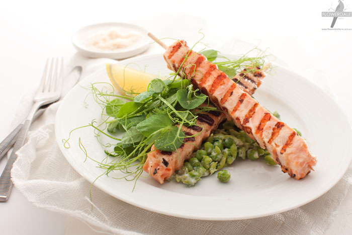 Salmon Skewers with Mushy Peas and Pea Tendril Salad