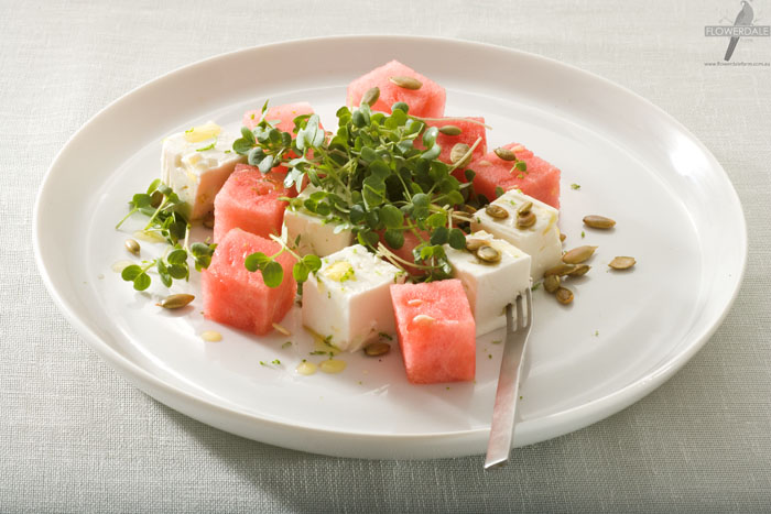 Cubed Watermelon and Feta Salad with Rocket Microgreen