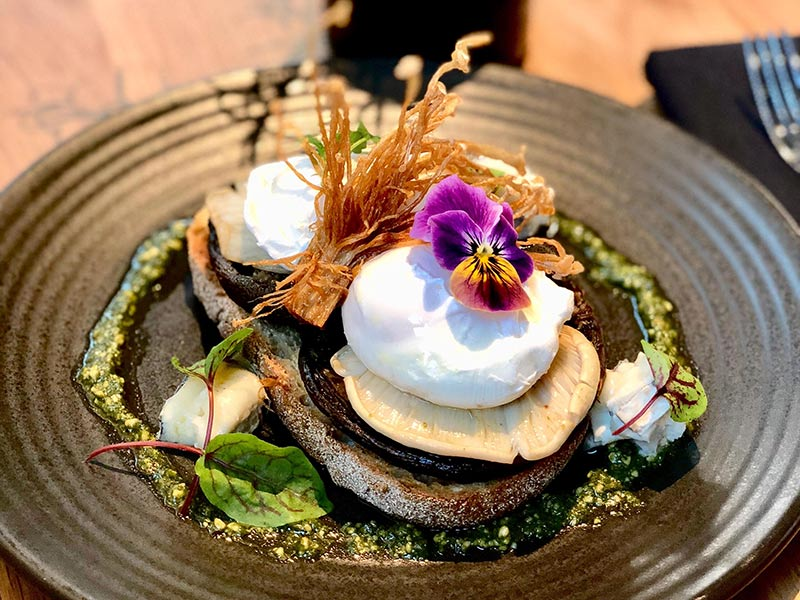 Slow Roasted Forest Mushrooms with Goats Cheese, Basil Pesto and Poached Eggs