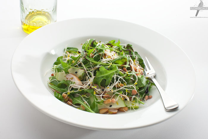 Radish Alfalfa and Rocket Salad with Chicken, Pear and Pine Nuts